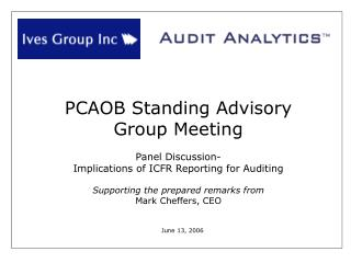 PCAOB Standing Advisory  Group Meeting  Panel Discussion-