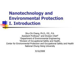 Nanotechnology and Environmental Protection I. Introduction