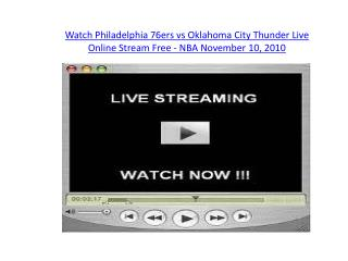 Watch Philadelphia 76ers vs Oklahoma City Thunder Live Onlin