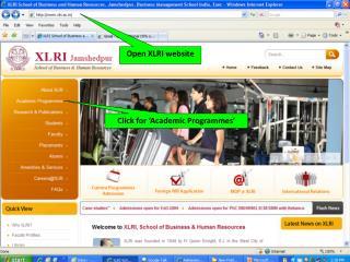 Open XLRI website