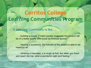 Cerritos College Learning Communities Program