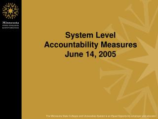 System Level  Accountability Measures June 14, 2005