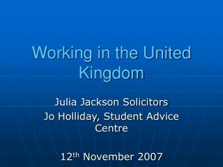 Working in the United Kingdom