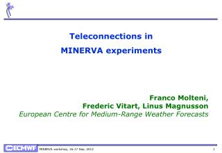 T eleconnections  in MINERVA experiments