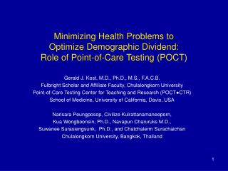 Minimizing Health Problems to Optimize Demographic Dividend: Role of Point-of-Care Testing POCT