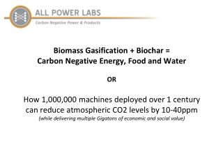 Biomass Gasification + Biochar = Carbon Negative Energy, Food and Water OR