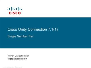 Cisco Unity Connection 7.1(1) Single Number Fax