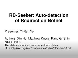 RB-Seeker: Auto-detection of Redirection Botnet
