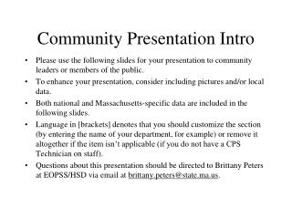 Community Presentation Intro