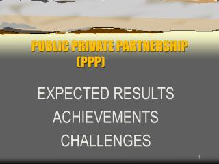 PUBLIC PRIVATE PARTNERSHIP (PPP)