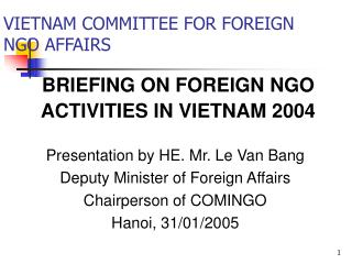 VIETNAM COMMITTEE FOR FOREIGN NGO AFFAIRS