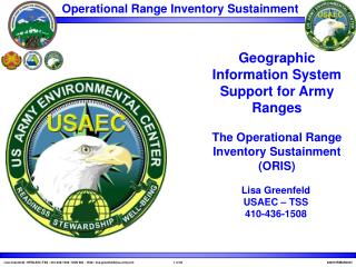 Lisa Greenfeld USAEC – TSS 410-436-1508