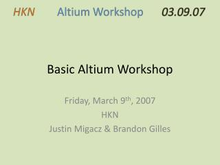 Basic Altium Workshop
