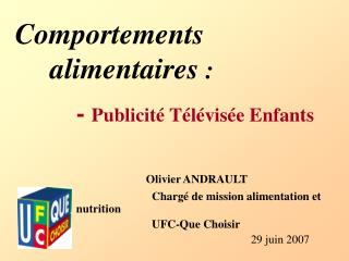 Comportements 	alimentaires  :