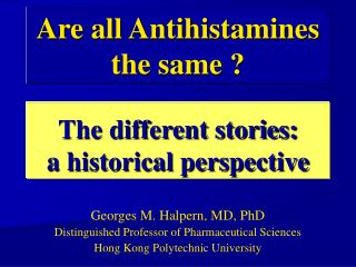 The different stories: a historical perspective