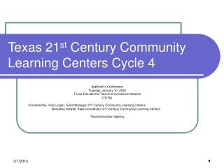 Texas 21 st  Century Community Learning Centers Cycle 4
