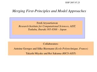 Merging First-Principles and Model Approaches