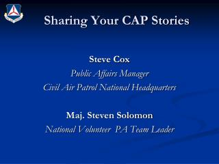Sharing Your CAP Stories