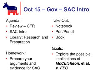 Oct 15 –  Gov – SAC Intro