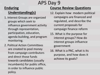 APS Day 9