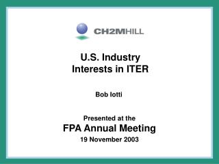 U.S. Industry Interests in ITER