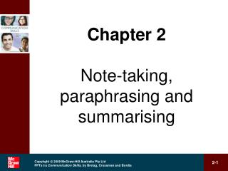 Chapter 2 Note-taking, paraphrasing and summarising