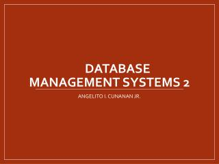 Database Management Systems 2