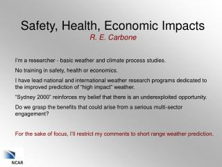 Safety, Health, Economic Impacts R. E.  Carbone