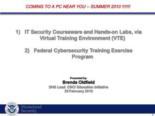 IT Security Courseware and Hands-on Labs, via Virtual Training Environment (VTE)