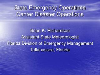 State Emergency Operations Center Disaster Operations