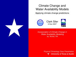 Climate Change and  Water Availability Models