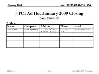 JTC1 Ad Hoc January 2009 Closing