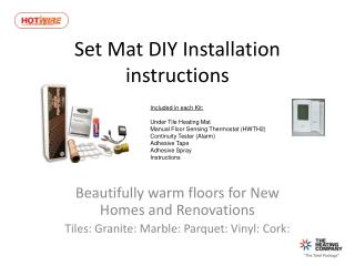 Set Mat DIY Installation instructions