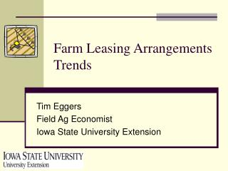 Farm Leasing Arrangements Trends