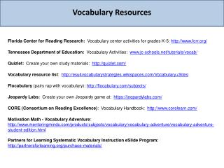 Vocabulary Resources