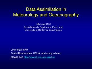 Data Assimilation in Meteorology and Oceanography