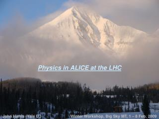 Physics in ALICE at the LHC