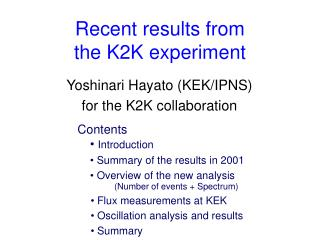 Recent results from  the K2K experiment
