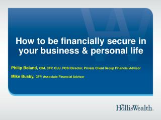 How to be financially secure in your business & personal life