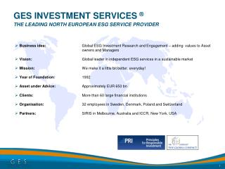 GES INVESTMENT SERVICES    The Leading north european ESG service provider