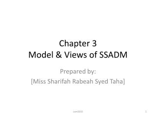 Chapter 3 Model & Views of SSADM