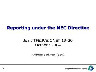 Reporting under the NEC Directive