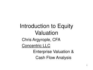 Introduction to Equity Valuation