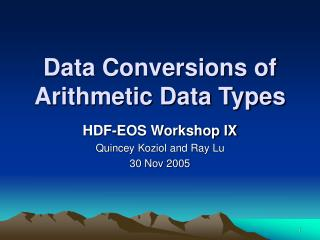 Data Conversions of Arithmetic Data Types