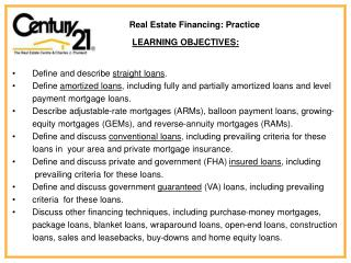 Real Estate Financing: Practice