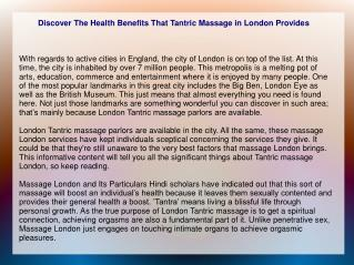 Discover The Health Benefits That Tantric Massage in London