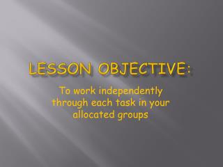 Lesson Objective: