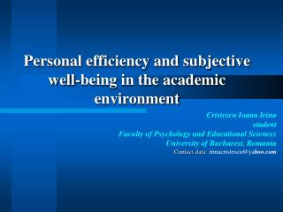 Personal efficiency and subjective well-being in the academic environment