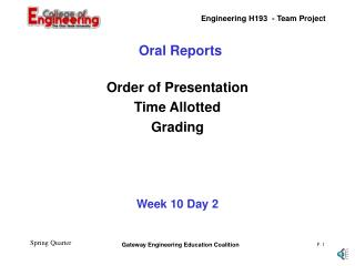 Oral Reports