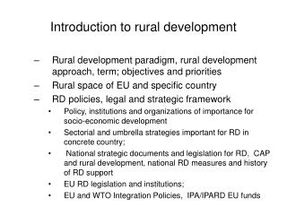 Introduction to rural development